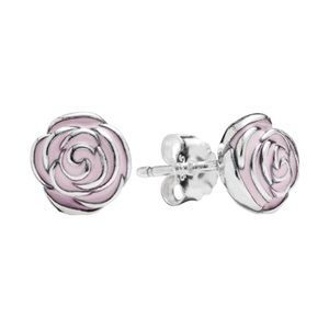 Pandora pink rose earrings